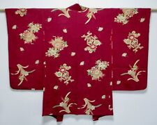 JAPANESE KIMONO SILK ANTIQUE LONG HAORI / FAN & FLOWER / VINTAGE SILK /85