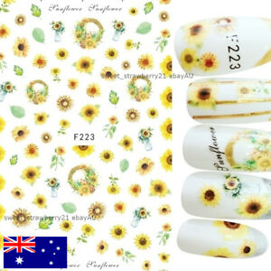SUNFLOWER NAIL STICKER art decal flower floral manicure beauty DIY gift supply