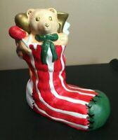 **Vintage 'ORIGINAL ARTMARK' CERAMIC LIGHTED CHRISTMAS STOCKING SOCK TEDDY TOYS