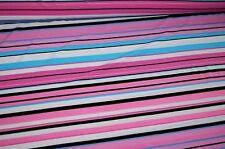 Jersey Stoff pink-rosa gestreift schwarz-weiss-blau #01002