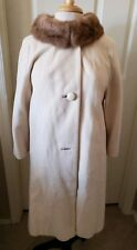 Vintage Ladies Beige Knee Length Cashmere Coat with Mink Collar Petite Small Sz
