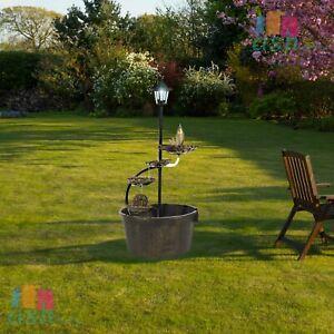 Garden Decor Water Barrel Fountain with Solar Light Lotus Cascading Feature New