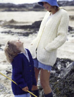 """(609) Ladies and Child""""s Cosy V-neck Cardigans Aran Knitting Pattern, 22-44''"""