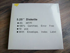 "10 pcs 5.25"" Diskette 2D 48TPI with envelope and index label TAIWAN"
