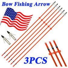 3X 32'' Bowfishing Fiberglass Solid Arrows Hunting Fishing Arrow Safety Slides