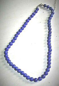 Lapis Lazuli Steinkette  5 mm  Kugeln Silber Verschluß teilgeknotet 38 cm Länge