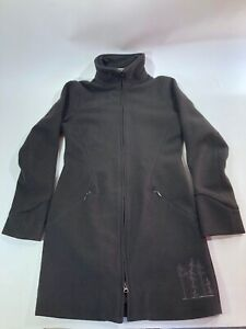 Ibex New Zealand Merino Wool Coat Long Jacket Brown Womens Sz S EUC