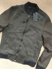 "ALL SAINTS KHAKI OLIVE ""BOXSON"" LEATHER BOMBER JACKET COAT - XS & S - NEW & TAGS"