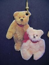 CHARMING Teddy Bear Earrings : ROOSEVELT BEAR CO 1993 cloth + paper on ear wire