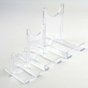 "Adjustable Display Stands Twist Clear Plastic 5cm-25cm, 2"" to 10"" Plate, Bowl"