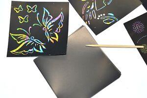 CHILDREN'S RAINBOW SCRATCH ART NOTE PAD KIDS CREATIVE ACTIVITY 50 SHEETS