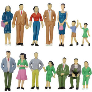 14pcs Model Trains G Scale 1:25 Painted Figures Standing Seated People Child