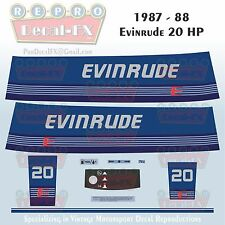 1987-88 Evinrude 20 HP Outboard Reproduction 10 Piece Marine Vinyl Decals