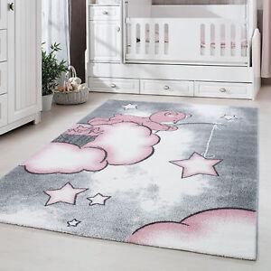 Kurzflor Kinderteppich, Kinderzimmerteppich Babyzimmer, Bär, PINK