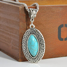 Fashion Antique Silver Plated Turquoise Pendant Chunky Statement Bead Necklace