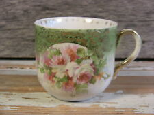 Antique Mustache Cup Hand Painted Roses Embossed Porcelain Green White Gilt