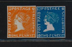 """***REPLICA*** of 1859 Mauritius """" Sherwin """" issue - both - 1p (unissued) and 2p"""