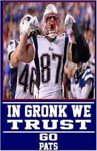 """NEW ENGLAND PATRIOTS """"IN GRONK WE TRUST"""" POSTER 11X17 ROB GRONKOWSKI"""
