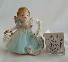 Vintage Josef Original Birthday Girl Angel Figurine Number 3 Black Eyes Hang Tag