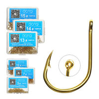 100 Pcs/lot Fishing Hooks Big Hook High Carbon Steel Bait Holder Fishhook Gold