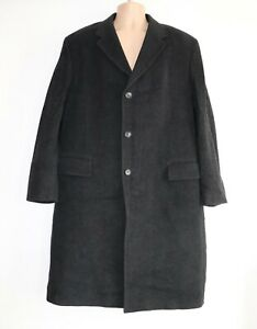 """Men's Vintage TAILOR'S Fitted Grey Wool Mix Coat Overcoat Size XL Pit To Pit 24"""""""