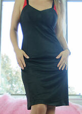 Vtg Deena Black Shadow Panel Simple Classic Smooth Nylon Full Slip Dress sz 34