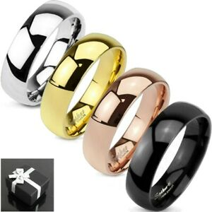 Titanium Plain Silver, Black, Gold or Rose Gold Polished Wedding Band Ring