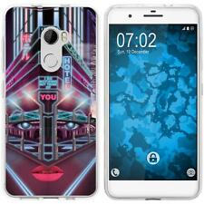 Case für HTC One X10 Silikon-Hülle Retro Wave Cyberpunk.02 M5 + 2 Schutzfolien