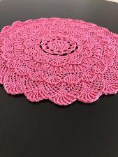 Crochet Round Doily Handmade PINK diametr 30cm