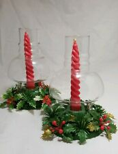 Vintage Plastic Christmas Candle Candlestick Holder Hurricane Glass Lamp