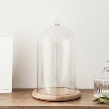 "Glass Cloche Bell Jar Display Dome with Bamboo Base - 7"" x 4"" Regular"