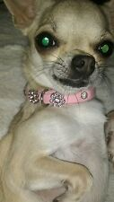 PINK REAL SOFT LEATHER DIAMANTE COLLAR xs 25 cm DOG PUPPY CRYSTAL DAISY STONES