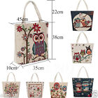 Owl Printed Canvas Tote Shoulder Beach Bags Women Shopping Folding Bag Handbags