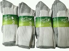 12 pairs mens white Cotton Rich Sport Socks size 6-12 work wear boot socks