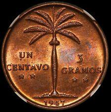 1947 Dominican Republic 1 One Centavo Bronze Coin - NGC MS 64 RB - KM# 17