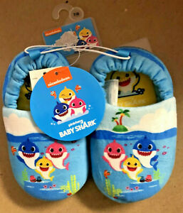 Nickelodeon Pinkfong BABY SHARK Toddler Slippers, Blue Size 7/8