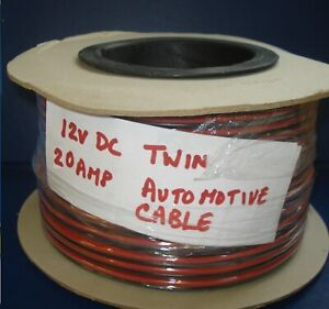 10 MTS TWIN CORE CABLE AUTOMOTIVE 20A TAXI TWO WAY HEAVY DUTY 12V/24V DC