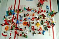 Vintage Lot of 59 Wood Christmas Tree Ornaments Wooden Mini Miniature Painted