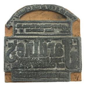 Vintage Typeset Metal On Wood Advertising Printing Block Stamp AD Jardine's PA
