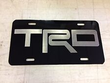 Toyota TRD Car Tag Diamond Etched on Black Aluminum License Plate
