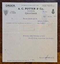1929 A C Potter & Co., Engineers, Grantham Letter