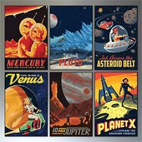 Mid Century Space Travel Vintage Retro Flexible Fridge Magnets set of 6 -  No.4