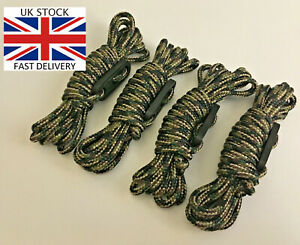 ARMY CAMOUFLAGE Bushcraft BASHA BIVI GUY ROPES x4 Tent Shelter Green Brown camo