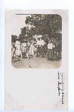 """Camping Scene in TX"" Family w Dogs & Donkeys RPPC Antique Photo ca. 1910s"