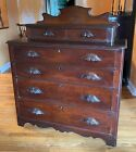 Antique 1800 s Solid Walnut Chest of Drawers Dresser Carved Pulls