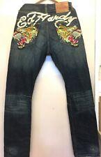 Ed Hardy Lot 2008 Blue Denim Straight Jeans Tigers Rear Pockets W32 x L34