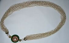 "VICTORIAN CLUSTER PEARL MULTILAYER NECKLACE SIDE FLOWER PENDANT 15"" LENGTH"