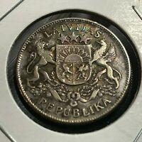 1925 LATVIA SILVER 2 LATI BETTER COIN