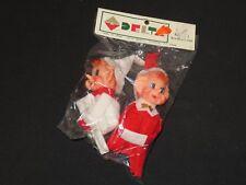 Vintage Knee Hugger Pixie Elf Felt Ornaments DELTA Novelty Japan Xmas (P424)
