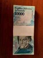 Venezuela 10,000 10000 Bolivares X 100 Pcs Bundle 2016 / 2017 Prefix Varies USED